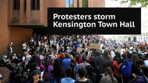 Protesters storm Kensington Town Hall demanding 'justice' for Grenfell Tower victims