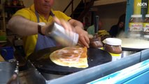 French Street Food in Paris  Banana Nutella Crepes with Almond and Coconut