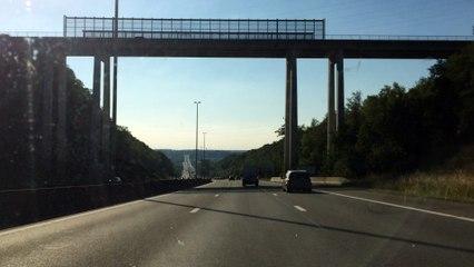 Traversée de l'échangeur de Cheratte et des viaducs de Herstal - Allemagne --> Bruxelles
