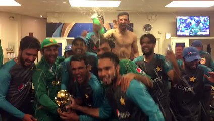 Party time in the Pakistan changing room