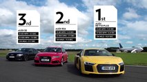 Audi R8 V10 Plus vs Audi RS6 vs Audi S8 Top Gear: Drag Races