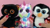 BEANIE BOOS ty Oyuncak Bebekleri karşılaştırıyoruz! Penguen, Tek Boynuzlu At ve Yarasa!
