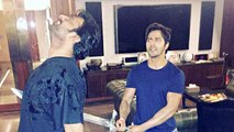 Varun Dhawan Recreates Katappa-Baahubali Scene With Prabhas