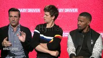 Jon Hamm, Ansel Elgort and Jamie Foxx about Baby Driver