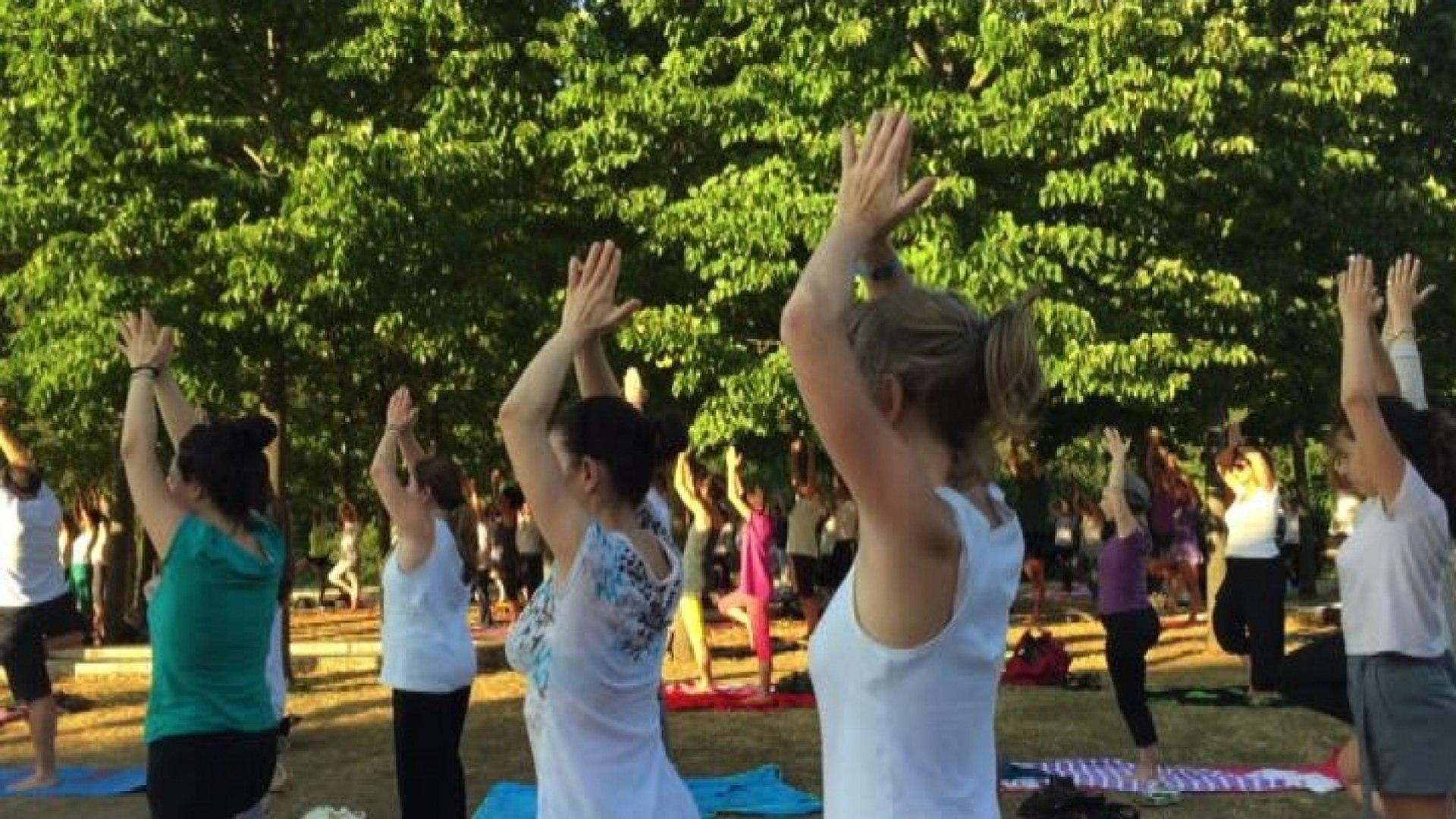 Yoga per l'armonia e la pace nei giardini dell'Auditorium a Roma