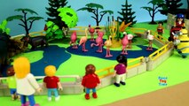 School Bus Ride Trip to the Playmobil Zoo Wild Animals Toys For Kids Learn Animal Names!