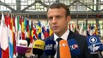 Point presse d'Emmanuel Macron lors de son arrivée au Conseil Européen de Juin 2017 à Bruxelles
