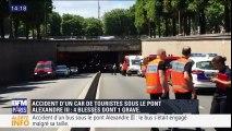 Accident d'un car de touristes sous le tunnel du pont Alexandre III: quatre blessés dont un grave