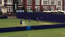 How many men does it take to water a tennis court at the Queen's Club?