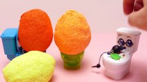 SLIME Toilettes !!! Fancy Foam Pearl Clay Surprise Eggs with Toys on Candy Toilettes
