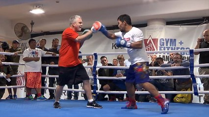PACQUIAO ON FIRE! SPEED/POWER ON DISPLAY ON MITTS DAYS AWAY FROM JEFF HORN FIGHT!