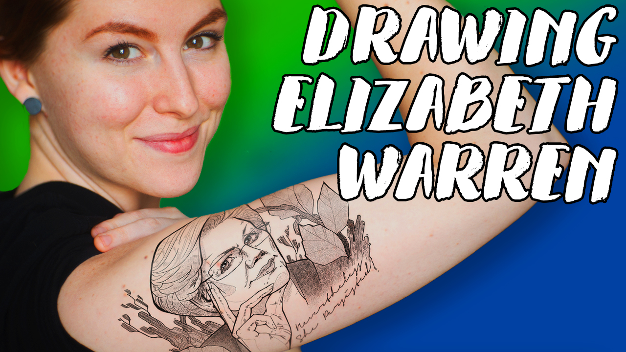Drawing Elizabeth Warren, Photoshop Tattoo // Rad Art with Beth Be Rad | Snarled