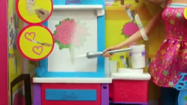 Barbie Art Teacher Barbie Doll with Kelly Doll Painting Coloring by DisneyCarToys and Toys