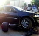 Sinirlenen Sürücü, Aracıyla Motosikleti Ezdi, Kameralar Saniye Saniye Kaydetti