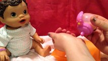 Feeding my Baby Alive Sip N Slurp Doll Drinks Orange Doll Juice in New Pet Bottle New HD