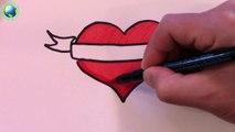 Un Et Un A Un Un A Arc Couleur Dessiner Facile Coeur Comment Ruban