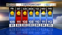 A warm and sunny weekend is expected with temps around 110