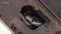 États-Unis: une voiture avalée par un trou géant à Saint-Louis