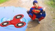 BAD SUPERMAN playing FIDGET SPINNER falling into POOL Spiderman vs Frozen Elsa help Superhero funny