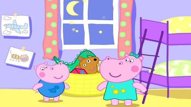 Hipopótamo y buenas noches Hippo Pepa / buenas noches peppa.gippo Peppa hermano George dormido