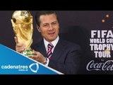 Peña Nieto alzó la Copa del Mundo y pide al 'Piojo' traer el trofeo de campeón de Brasil