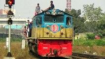 Subarna Express Train (Dhaka to Chittagong) of Bangladesh Railway Entering Dhaka Kamlapur Railway Station