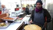 Indian Street Food  Dal Pakoras (Bhajias) at Bismillah Bangladeshi Restaurant, Whitechapel, London.