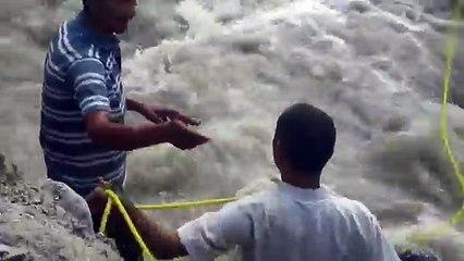 Dans une rivière déchaînée, une jument pouvait à peine garder la tête hors de l'eau...