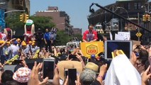 Joey Chestnut Celebrates Breaking Record to Win Nathan's Hot Dog Eating Contest