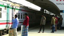 Subarna Express Train of Bangladesh Railway departing kamlapur