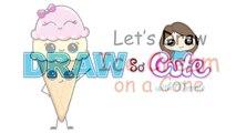 Comment à dessiner mignonne de la glace crème cône dessin animé de la glace crème cône étape par étape pour débutants