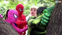 Frozen Elsa PLAYTIME OUTSIDE ! Spiderman Joker Hulk Pink Spidergirl Kids Funny Video Real Life