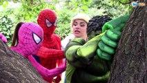 Frozen Elsa PLAYTIME OUTSIDE ! Spiderman Joker Hulk Pink Spidergirl Kids Funny Video Real Life