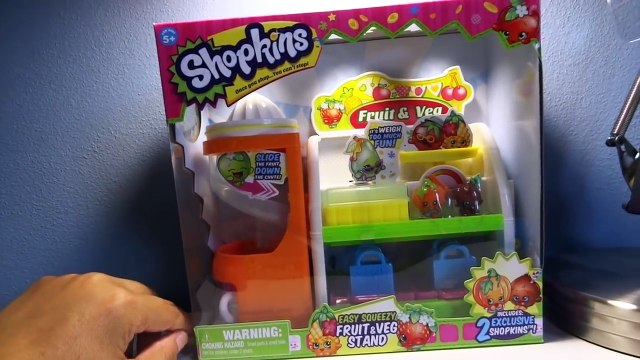 Shopkins Season 1 Easy Squeezy Fruit & Vegetable Stand Slide Playset Exclusive Unboxing Re