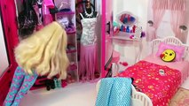 Bad Barbie & Good Barbie Morning routine Pink Bedroom Doll House Beliche para Barbie Quarto|