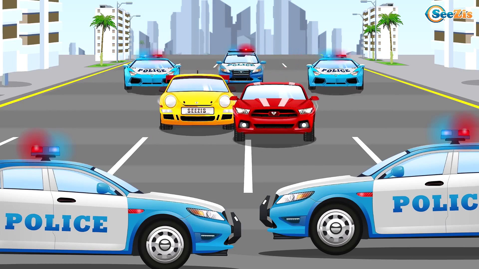 Cars Cartoon about Racing Cars & Sports Car Race with Police Car in the City | Cartoons for chil