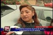 Cerro San Cristóbal: delincuentes roban pertenencias de víctimas