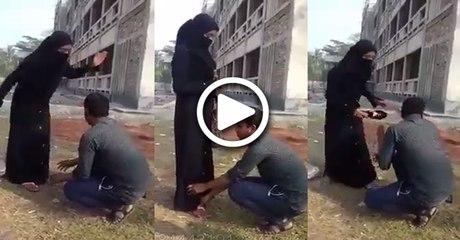 Boy blackmailing his girlfriend