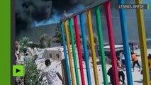 Lesbos : des migrants mettent le feu à leur camp
