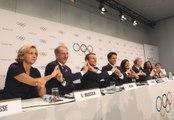 Conférence de presse de la déleguation française pour soutenir la candidature de paris aux Jeux Olympiques de 2024 le mardi 11 juillet 2017 à Lausanne