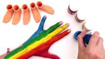 Y colores pies para manos Niños Aprender vivero arco iris rimas dedos de los pies con Luz del arco iris