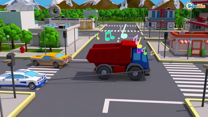Polícia em Cidade   Caminhao A Prossecução de Carros   Desenhos animados crianças