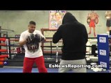 mikey garcia looking sharp in training camp working mitts with robert garcia  - esnews boxing