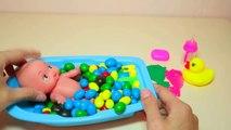 Bébé poupée bain temps Apprendre les couleurs avec jeu de quilles Bonbons