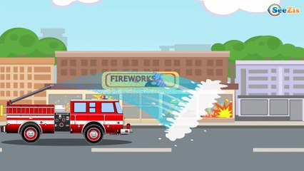 New Cars & Trucks Cartoon The Red Fire Truck, The Police Car and Ambulance Emergency Kids Video