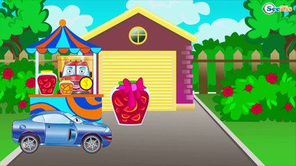 The Blue Police Car pursues Taxi | Service & Emergency Vehicles Cartoons for children