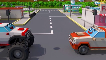 Giant Excavator & Red Truck | Diggers Construction Vehicles 3D Kids Cartoon Cars & Trucks Stories
