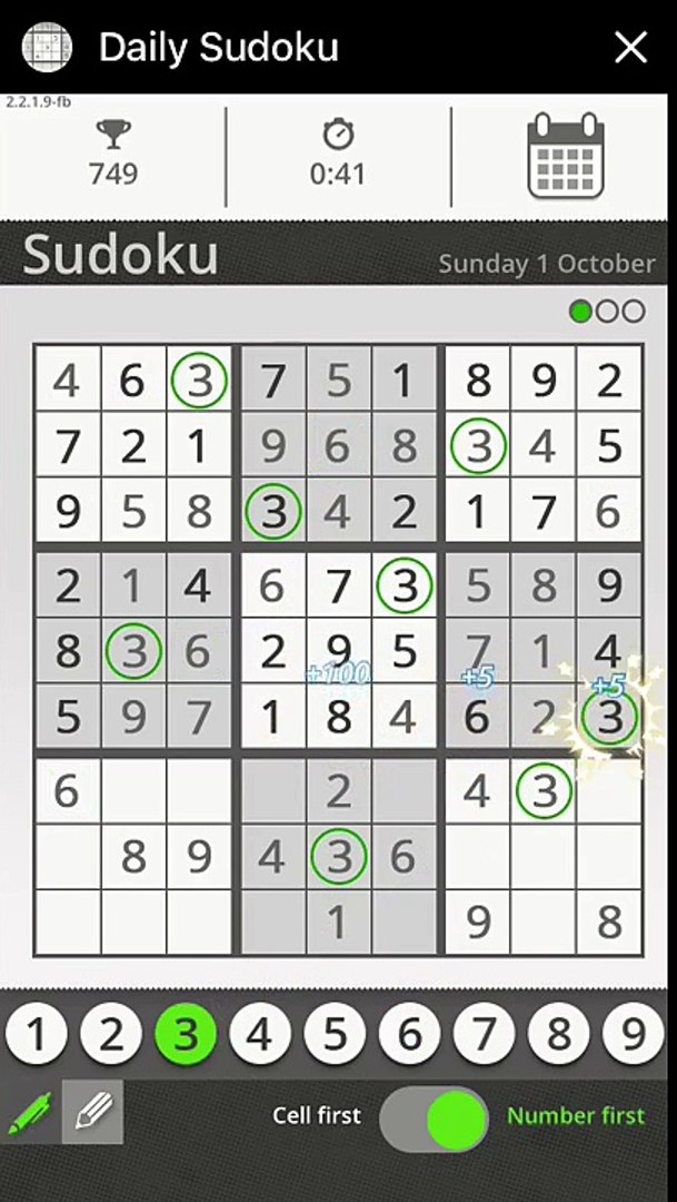 Daily sudoku messenger - Sunday 1 October 2017 easy difficulty solution