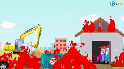 Excavator, Truck, Tow Truck and Crane in City   Trucks cartoon for children