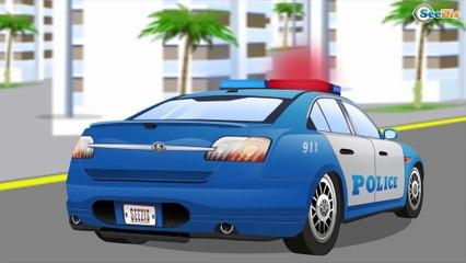 Carros infantiles - Coche de Policía, Camión de Bomberos - Coches para niños - Caricatura de carros